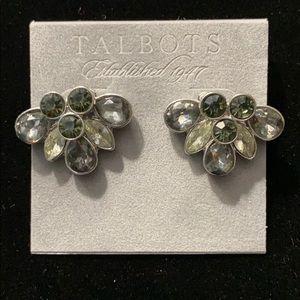 Talbots Smoky Gray Rhinestone Earrings - NWT